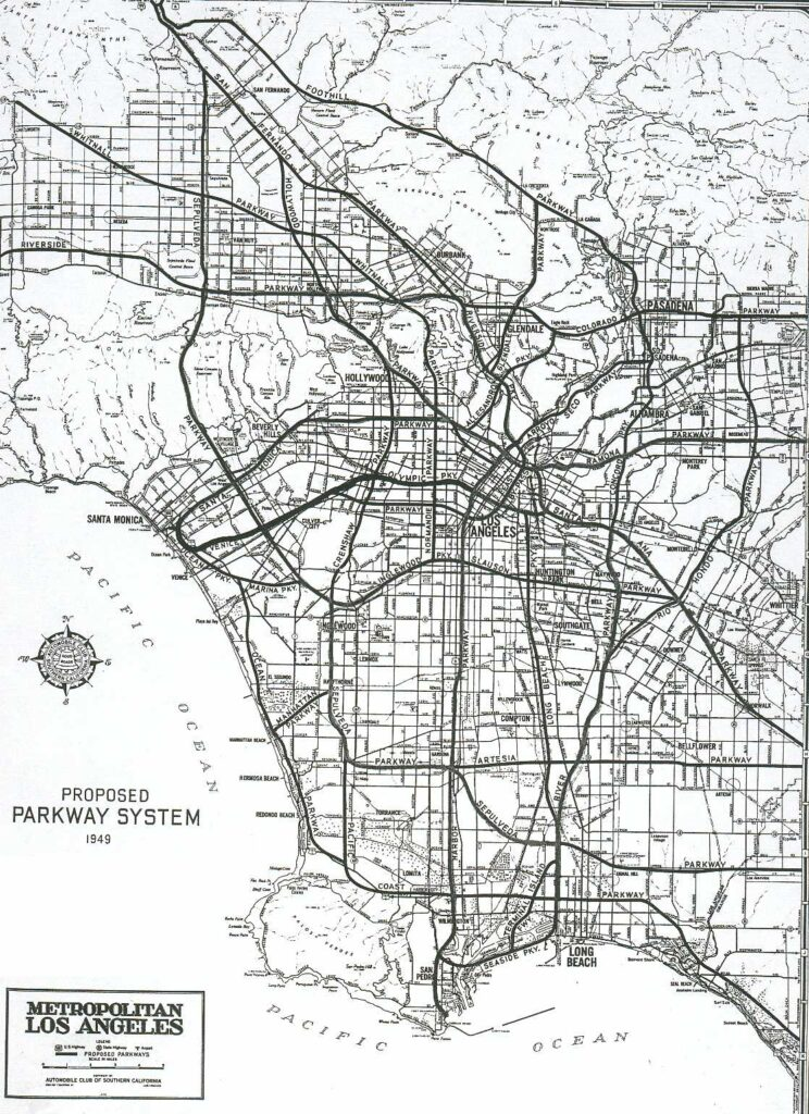 1947 Master Plan of Metropolitan Los Angeles Freeway adopted by the Regional Planning Commission