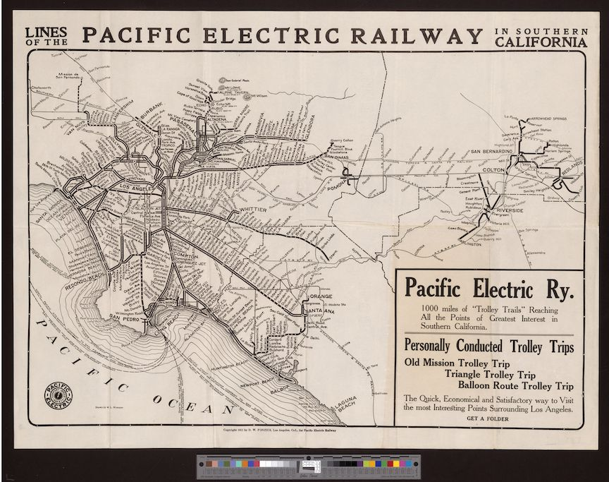 1911 map of the Pacific Electric Railway in Southern California
